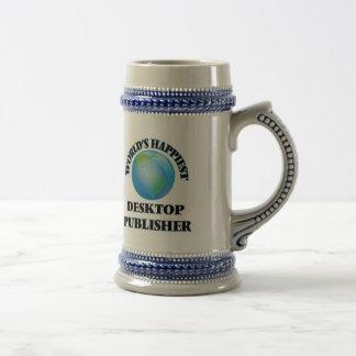 El editor de escritorio más feliz del mundo jarra de cerveza
