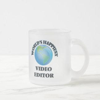 El editor de vídeo más feliz del mundo taza cristal mate