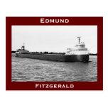 El Edmund Fitzgerald en el río del St. Clair (B&W) Postal