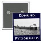 El Edmund Fitzgerald en el río del St. Clair Pin Cuadrada 5 Cm
