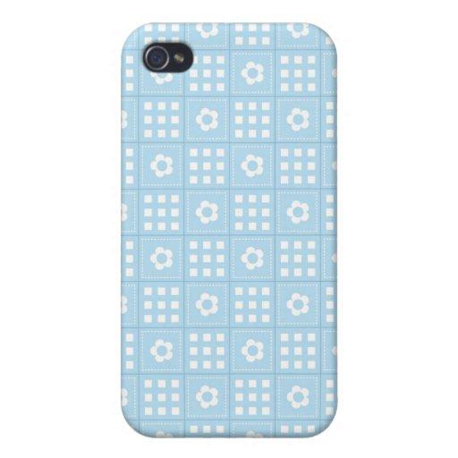El edredón azul claro ajusta las flores y ajusta P iPhone 4 Coberturas