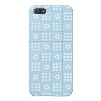 El edredón azul claro ajusta las flores y ajusta P iPhone 5 Carcasas