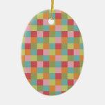 El edredón coloreado multi de las tejas ajusta la  ornamento de navidad