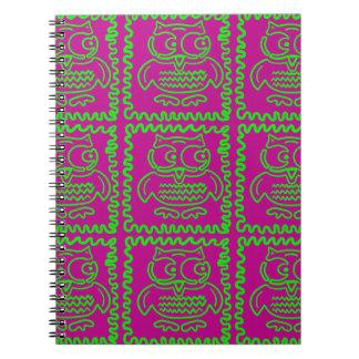 El edredón de remiendo de los búhos de la diversió libros de apuntes con espiral
