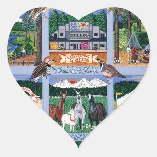 El edredón del pueblo de montaña pegatina en forma de corazón