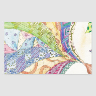 El edredón pintado pegatina rectangular