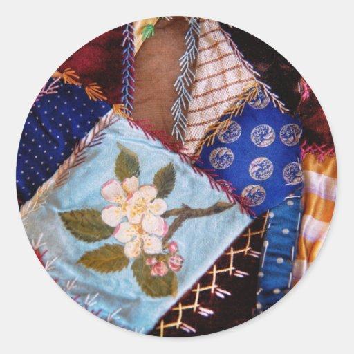El edredón - remiendo - de la abuela de costura pegatinas redondas