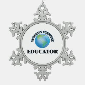 El educador más divertido del mundo adorno de peltre en forma de copo de nieve