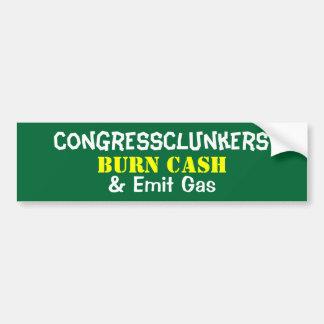 El efectivo de la quemadura de CongressClunkers y  Pegatina De Parachoque