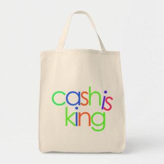 El efectivo es rey bolsa tela para la compra