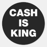 El efectivo es rey pegatina redonda