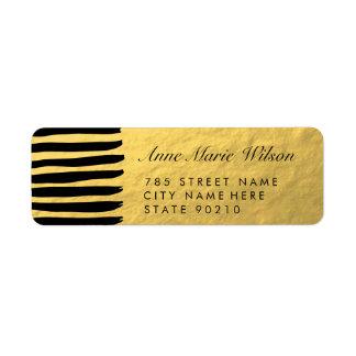 El efecto elegante del oro alinea etiquetas del etiqueta de remite