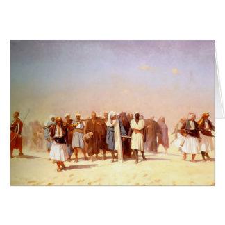 El egipcio recluta cruzar el desierto tarjeta de felicitación