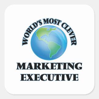 El ejecutivo de marketing más listo del mundo pegatina cuadrada