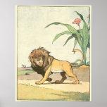 El ejemplo de libro de la historia del león póster