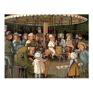 El ejemplo del vintage del carrusel tarjetas postales