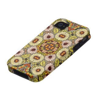 El ejemplo del vintage florece el modelo de maripo iPhone 4/4S funda