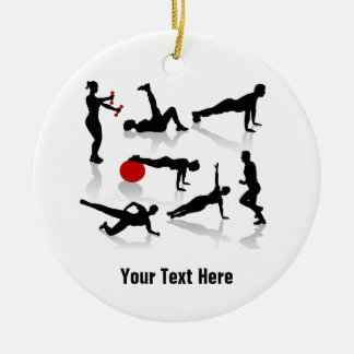 El ejercicio figura (personalizado) adorno navideño redondo de cerámica