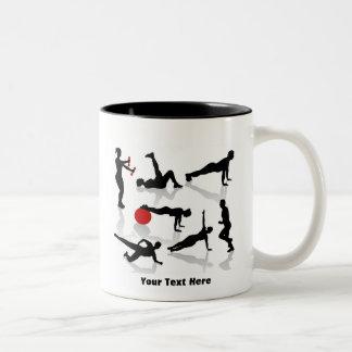El ejercicio figura (personalizado) taza de café de dos colores