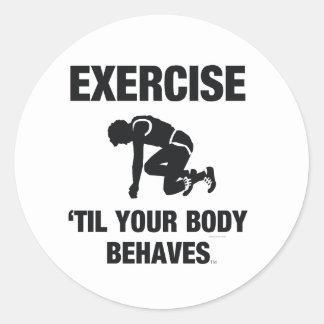 El ejercicio SUPERIOR hasta su cuerpo se comporta Etiquetas Redondas