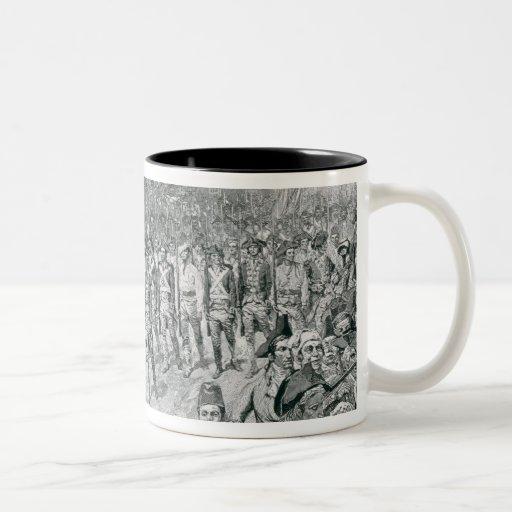 El ejército continental que marcha abajo del viejo taza de café