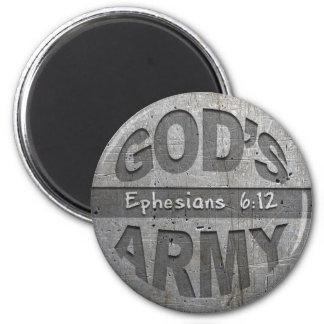 El ejército de dios - gris del metal del verso de  imán de frigorifico