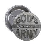 El ejército de dios - gris del metal del verso de  pin redondo 5 cm