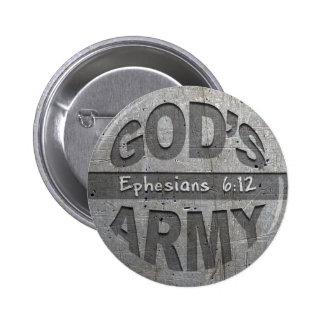 El ejército de dios - gris del metal del verso de pin redondo de 2 pulgadas