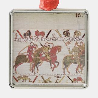 El ejército de Guillermo que va al Saint-Michel de Adorno Navideño Cuadrado De Metal