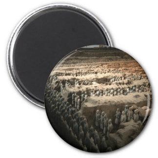 El ejército de la terracota imán redondo 5 cm