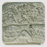 El ejército romano que cruza el Danubio Pegatina Cuadrada