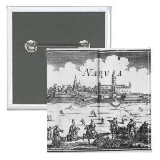El ejército ruso que sitia Narva en 1700 Pin Cuadrada 5 Cm