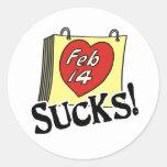 El el día de San Valentín chupa a los pegatinas Pegatina Redonda