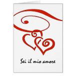El el día de San Valentín en italiano, corazones Tarjeta De Felicitación