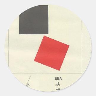 El EL Lissitzky- aquí es dos cuadrados Pegatina Redonda