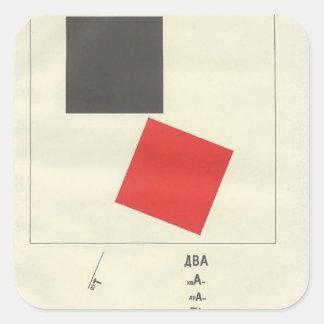 El EL Lissitzky- aquí es dos cuadrados Pegatina Cuadrada