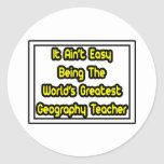 Él el profesor más grande de la geografía… del mun etiqueta redonda