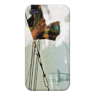El Electrik Flagg marrón azul gris iPhone 4 Protector