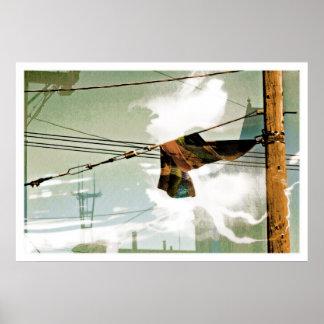 El Electrik Flagg marrón azul gris Poster