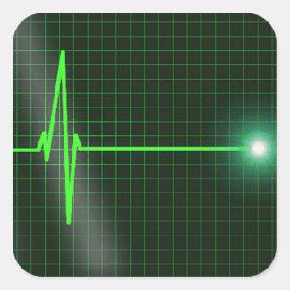 El electrocardiograma agita el paquete del pegatina cuadradas personalizada