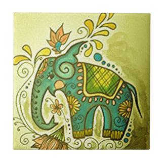 El elefante azul azulejo cuadrado pequeño