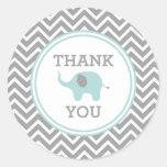 El elefante azul Chevron le agradece favorecer al Pegatina Redonda