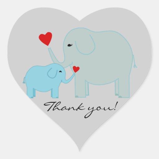 El elefante azul le agradece los pegatinas calcomania de corazon personalizadas
