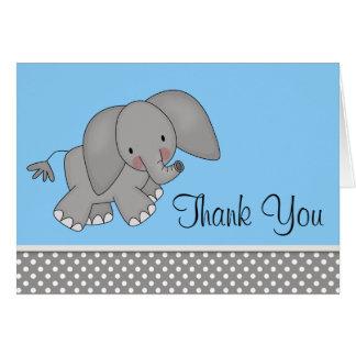 El elefante azul lindo le agradece las tarjetas
