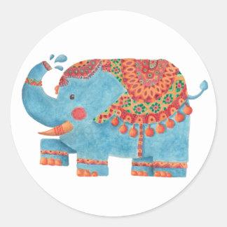 El elefante azul pegatina redonda