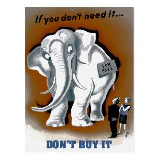 El elefante blanco retro divertido no lo compra postal