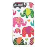 El elefante colorido embroma el caso del iPhone 6 Funda Para iPhone 6 Barely There
