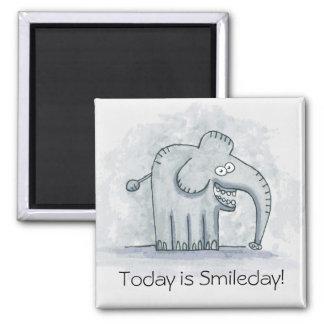 El elefante de motivación divertido es hoy Smileda Imán Cuadrado