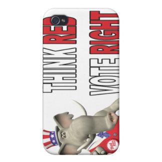 El elefante de Sam piensa la derecha roja del voto iPhone 4/4S Carcasa