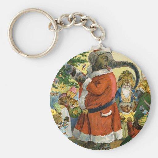 El elefante de Santa celebra el navidad animal Llavero Redondo Tipo Pin